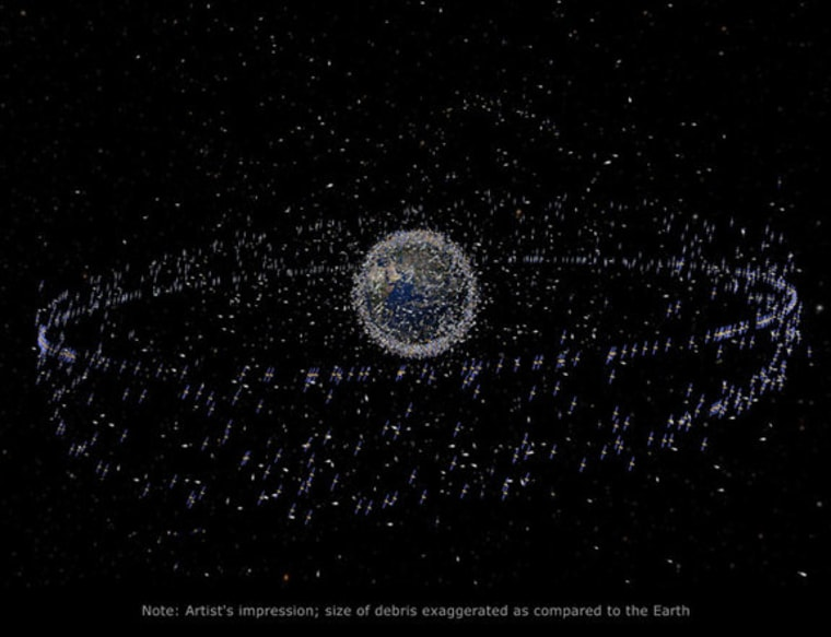 This graphic depicts the trackable objects, satellites and space junk in orbit around Earth.