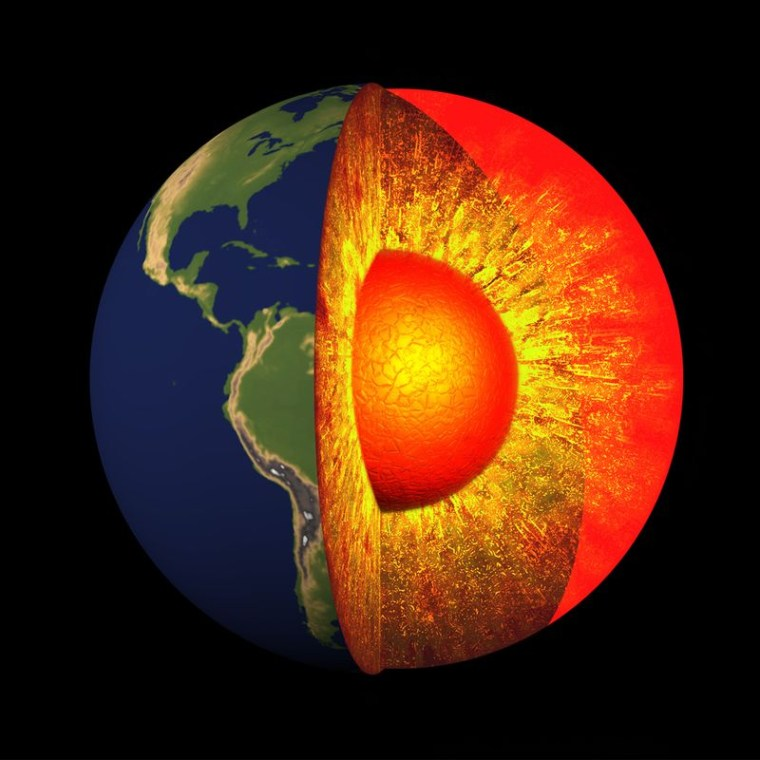 An illustration of Earth's mantle, its liquid core and solid inner core.