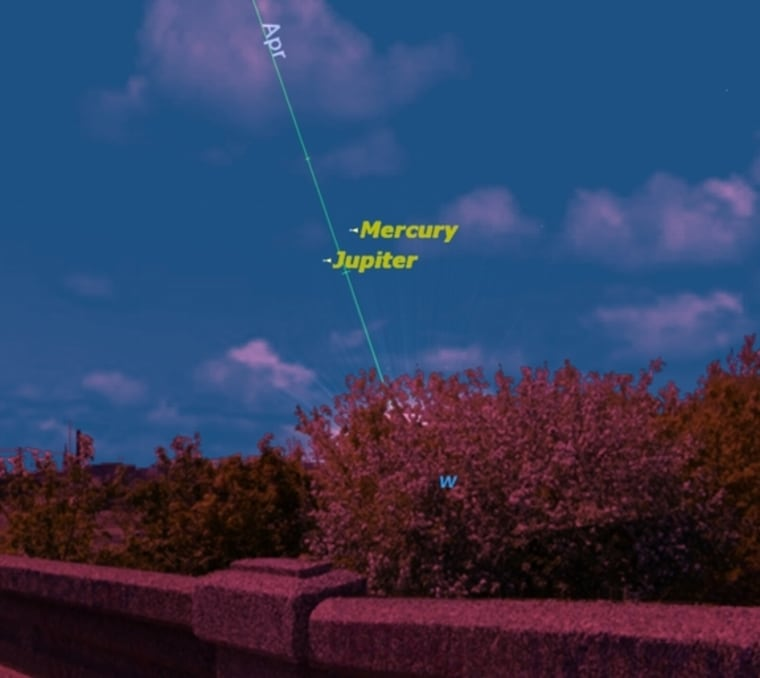 At sunset this week, there will be an unusual opportunity to see the elusive planet Mercury. Jupiter points the way. The Messenger spacecraft is poised to enter orbit around Mercury late Thursday.