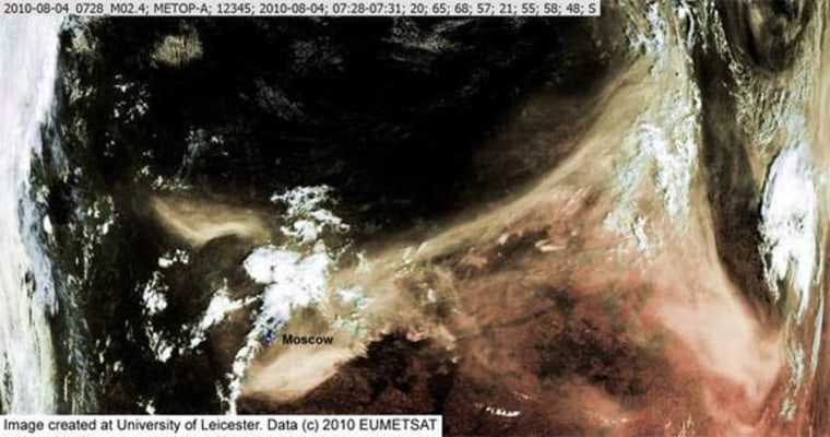 Fires in Russia last summer created this vast plume of smoke, shown in a satellite photo onAug. 4.