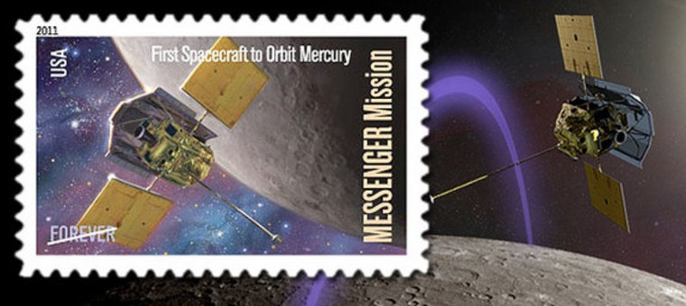 The U.S. Postal Service on May 4 will release a stamp to celebrate the first spacecraft to orbit Mercury. The stamp shows the orbit as envisioned by science fiction artist Donato Giancola.