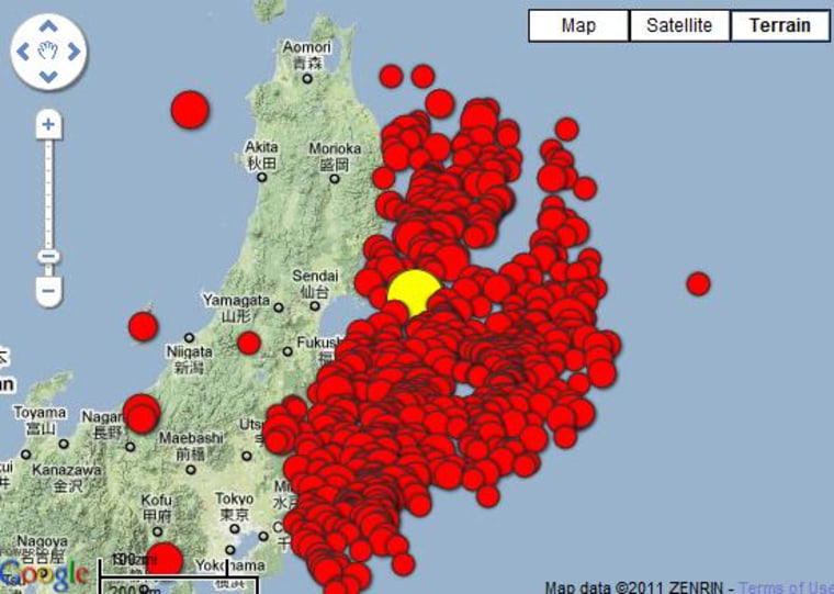 This map shows the aftershocks, in red, from the magnitude-9 Tohoku earthquake, yellow.