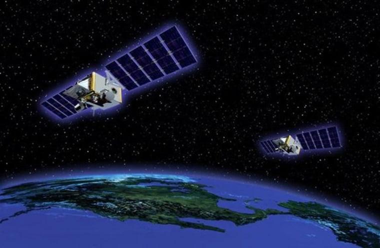 An artist's illustration of the new STSS missile defense demonstration satellites in orbit.