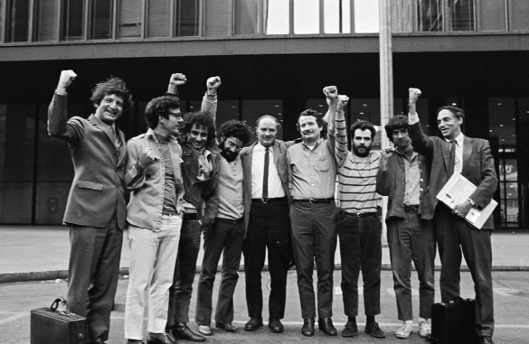 Image: The Chicago Seven and their lawyers. Leonard Weinglass, left