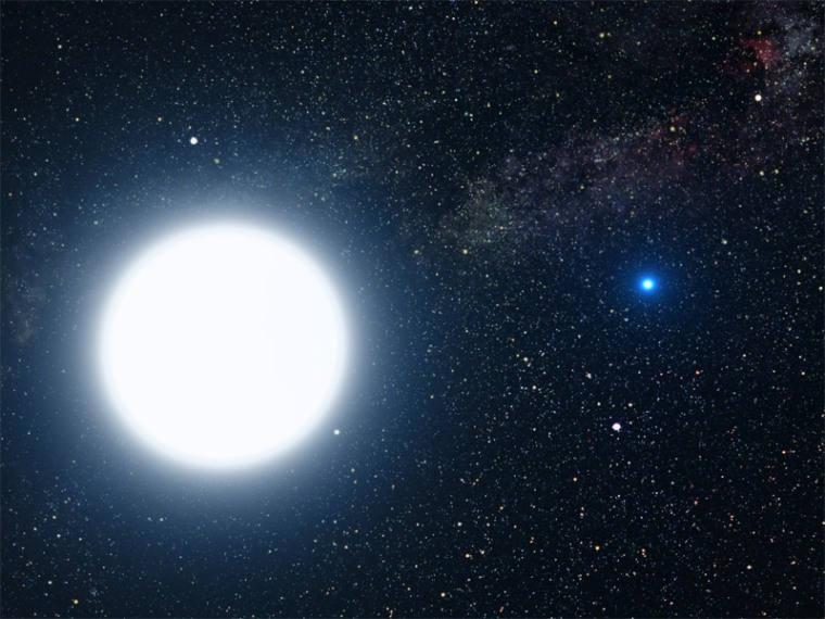 An artist's impression of the Sirius star system. Sirus A is the bright main-sequence, hydrogen-burning star, left, and is orbited by Sirus B, among the most massive white dwarfs known, with a mass similar to that of our sun, yet all that matter is packed into a similar volume to that of Earth.