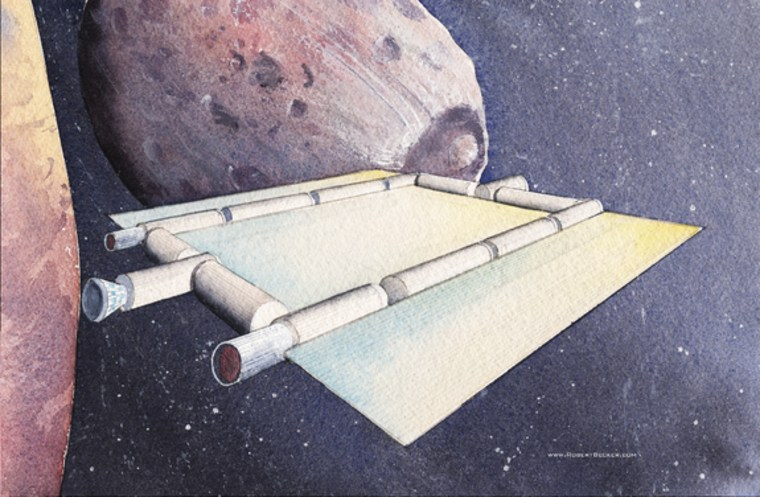 An artist's rendering of a space coach— a water-powered concept vehicle — cruising near the Martian moon Phobos. The cylinders are interconnected habitat modules, while the flatter regions are solar arrays.