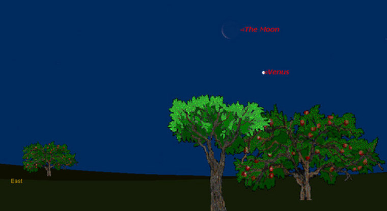 This sky map shows how Venus and the crescent moon will appear just before sunrise on March 31, as viewed under clear morning conditions.