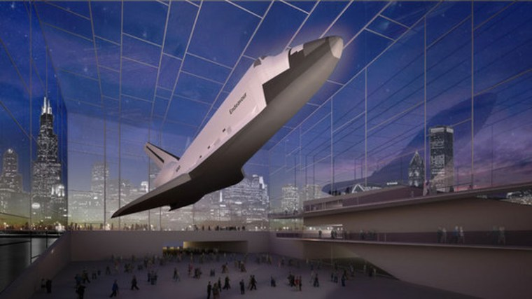 Artist's rendering of shuttle under glass dome in Chicago