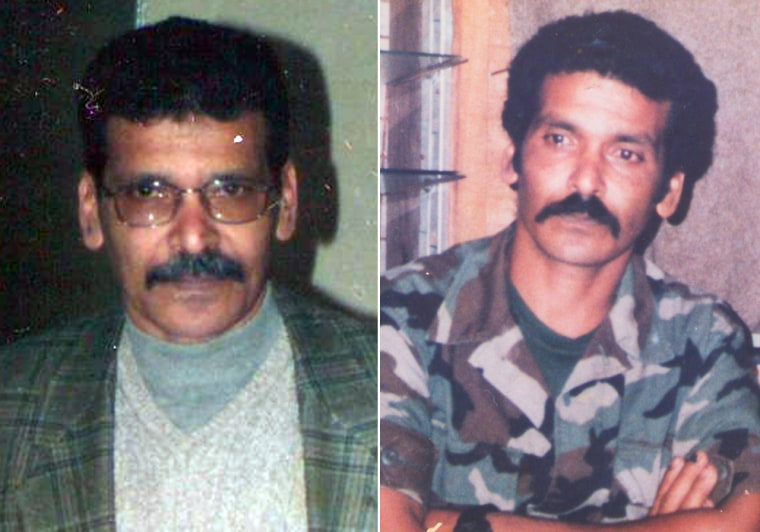 "On the right, Ibrahim Elfirjani is seen on the day he left for the U.S. in 1990 after being part of the Libyan opposition army in Chad. On the back of the photo is written in Arabic: ""Today, I'm taking off a uniform that is dear to my heart and I'm waiting for the day that I am going to wear it to fight for justice."" On the left is a photo of Ibrahim in Egypt in 2003. He went there to reunite with his wife and two children, who had fled Libya."
