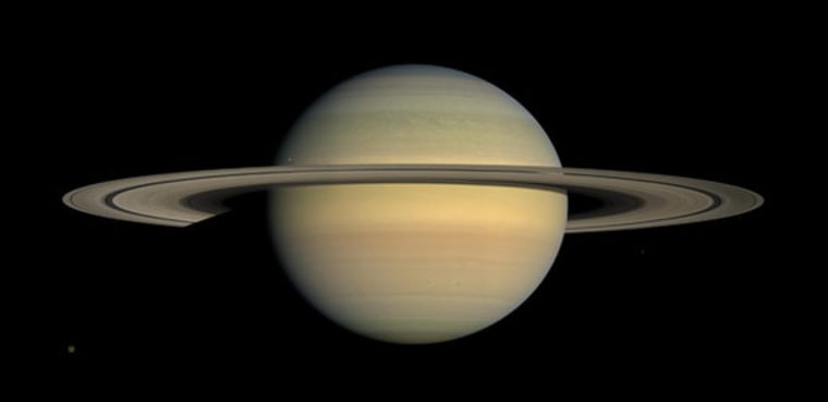 An image of Saturn,a mosaic of 30 photos, taken by NASA's Cassini spacecraft on Dec. 30, 2008.