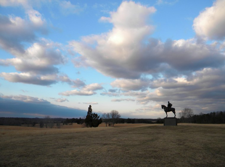 """Image: a statue of Confederate Gen. Thomas """"Stonewall"""" Jackson stands on the Civil War battlefield at Manassas,"""