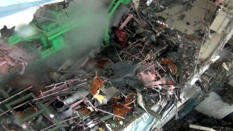 Image: The damaged fourth reactor of TEPCO's Fukushima No.1 nuclear power plant
