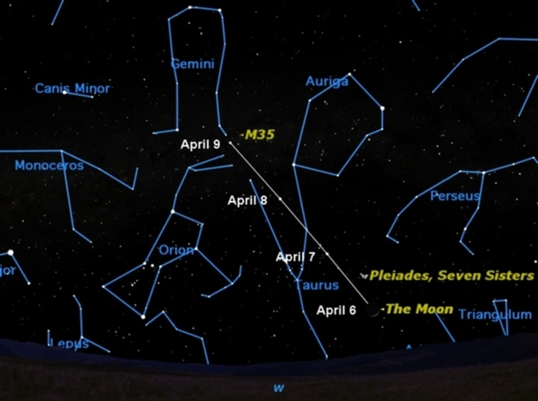 This week the moon moves past two of the prettiest star clusters in the sky, the Pleiades and Messier 35. As seen around 10 p.m., the position of the moon is marked each night.