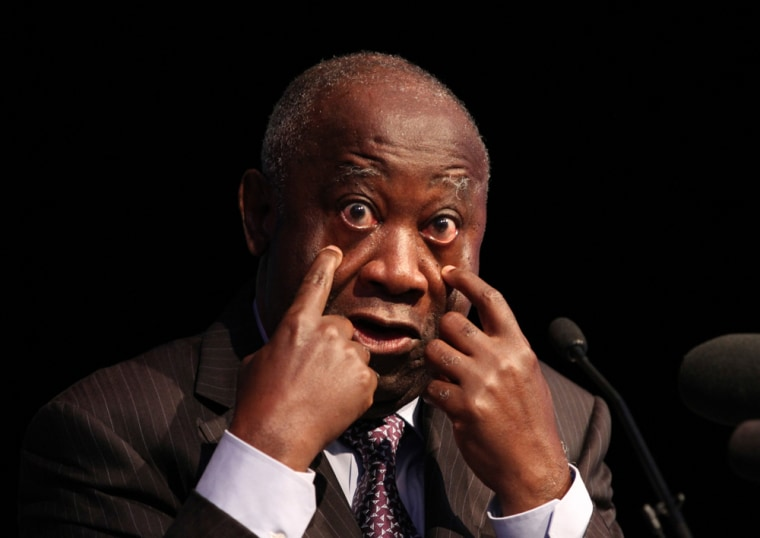 Image: File photo of Laurent Gbagbo gesturing during his official declaration as the candidate of his FPI party in October 2010.