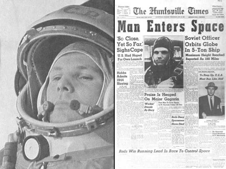 On April 12, 1961, Russian cosmonaut Yuri Gagarin (left, on the way to the launch pad) made the first human spaceflight, a 108-minute orbital journey in his Vostok 1 spacecraft. Newspapers such as The Huntsville Times trumpeted Gagarin's accomplishment.