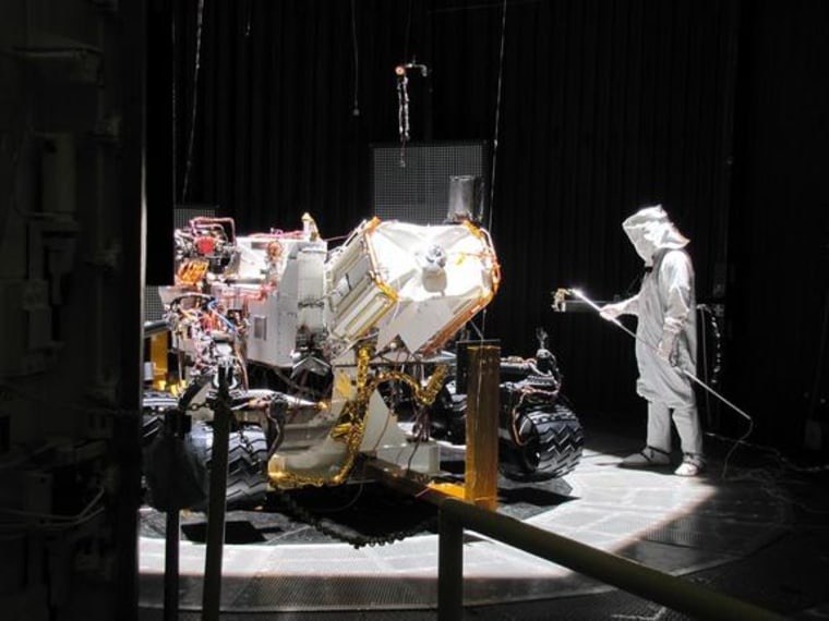 Testing of the Mars Science Laboratory rover, Curiosity. Evaluations during March included use of a space-simulation chamber designed to put the rover through operational sequences in environmental conditions similar to what it will experience on the surface of Mars.