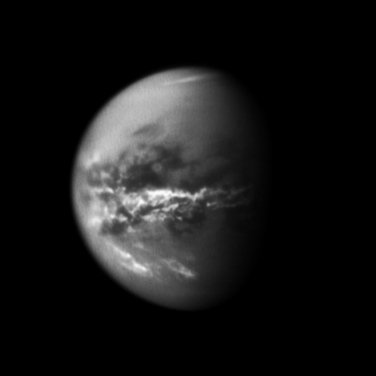 NASA's Cassini spacecraft chronicled the change of seasons as it captured clouds concentrated near the equator of Saturn's largest moon, Titan, on Oct. 18, 2010.