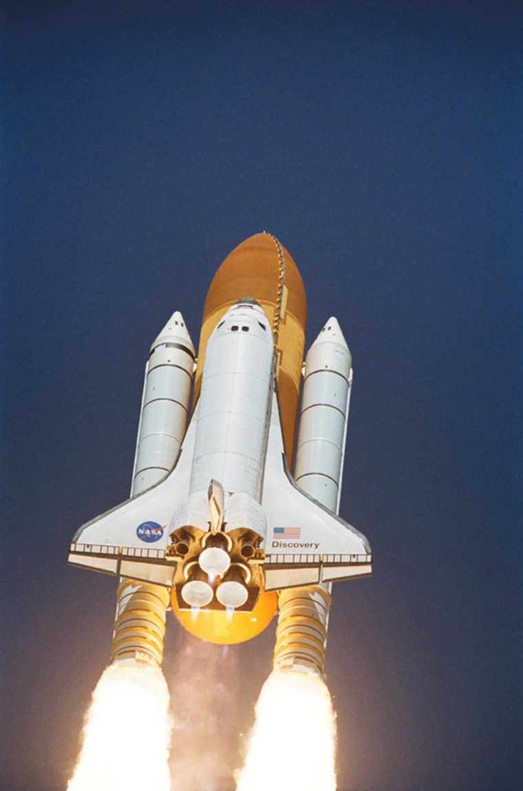 The space shuttle Discovery launches on July 26, 2005.