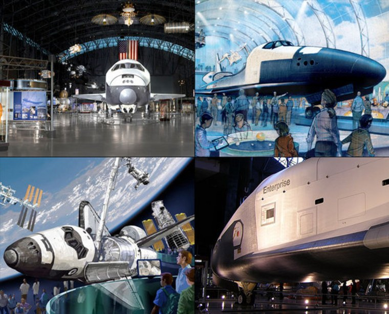 Here's where NASA decided to send its space shuttle fleet: Shuttle Discovery will go to the National Air and Space Museum's Steven F. Udvar-Hazy Center, Chantilly, Va. (upper left); the shuttle test orbiter Enterprise will go to the Intrepid Sea, Air & Space Museum, New York City (illustration at upper right); shuttle Atlantis will go to the Kennedy Space Center Visitor Complex, Florida (bottom left). The test orbiter Enterprise is shown at bottom right.