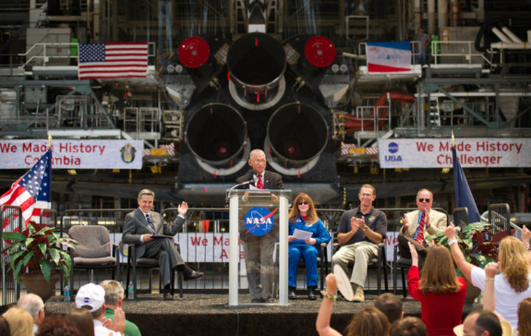 NASA Administrator Charles Bolden announces where four space shuttle orbiters will be permanently displayed at the conclusion of the Space Shuttle Program during an event held Tuesday at Kennedy Space Center in Cape Canaveral, Fla.