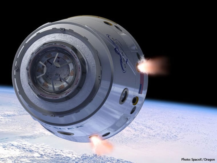 An artist's illustration of SpaceX's Dragon space capsule in Earth orbit. NASA is relying on private companies to step in and do the work now done by the space shuttle program, which is ending.