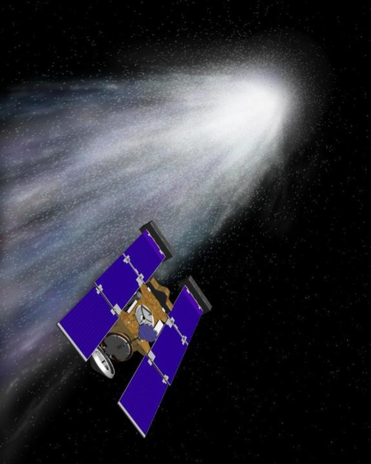 An artist's concept of the Stardust spacecraft beginning its flight through gas and dust around the comet Wild 2.