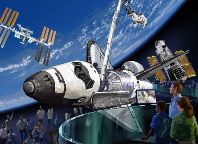 The Kennedy Space Center Visitor Complex's concept for displaying a retired space shuttle orbiter.