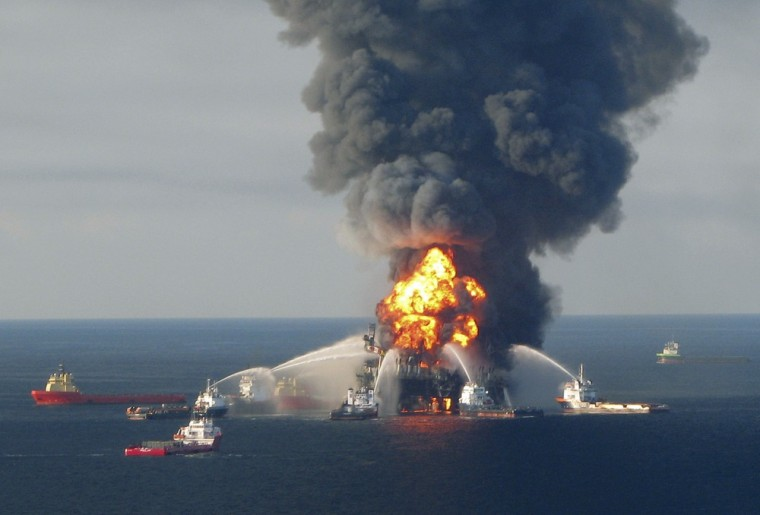 Image: Fire boat response crews battle the blazing remnants of the off shore oil rig Deepwater Horizon on April 21, 2010.