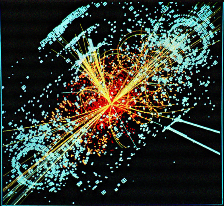 This track is an example of simulated data modeled for the CMS detector on the Large Hadron Collider (LHC) at CERN. Here a Higgs boson is produced and then decays into two jets of hadrons and two electrons. The lines represent the possible paths of particles produced by the proton-proton collision in the detector while the energy these particles deposit is shown in blue.