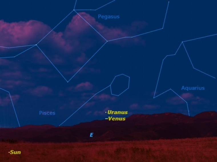 The planets Uranus and Venus will be in close conjunction on Saturday morning.