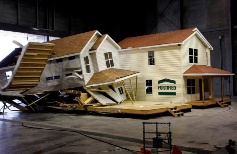 Engineers at the Insurance Institute for Business & Home Safety research center can blast homes with tornado-strength winds generated by 105 giant fans. Drop in a half-million gallons of water or ice from the ceiling, and they can simulate hurricanes and hailstorms.