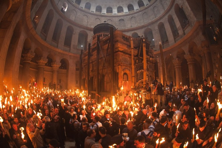 Image: A general view of the Church of Holy Sepulchre during Christian Orthodox Holy Fire ceremony in Jerusalem's Old City