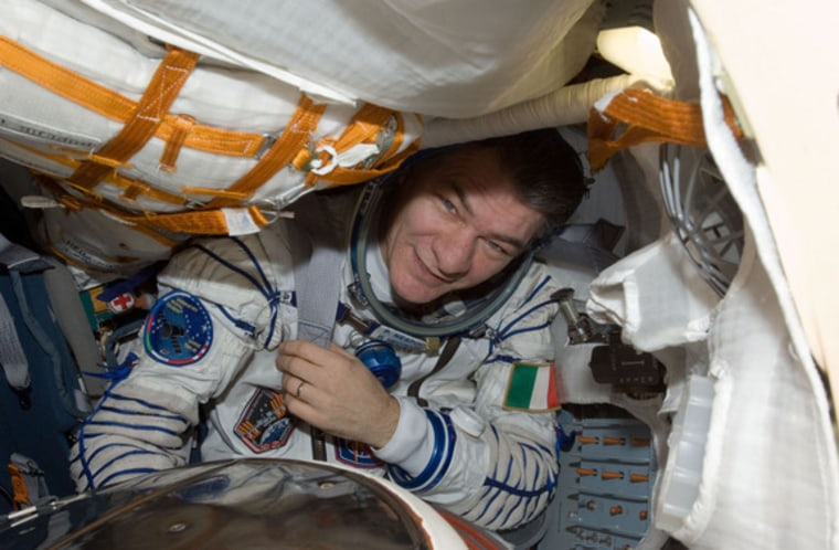 European Space Agency astronaut Paolo Nespoli, Expedition 27 flight engineer, is pictured in the Soyuz TMA-20 spacecraft currently docked to the Rassvet Mini-Research Module 1 (MRM1) of the International Space Station.