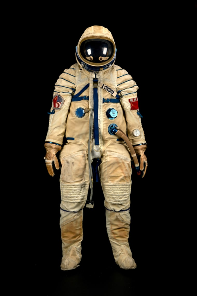 This spacesuit was worn by Russian cosmonaut Alexei Leonov during the historic Apollo-Soyuz Test Project, a joint space mission between the U.S. and Soviet Union in 1975. It is one of two spacesuits up for auction in the Bonhams Space History Sale in New York City this week.