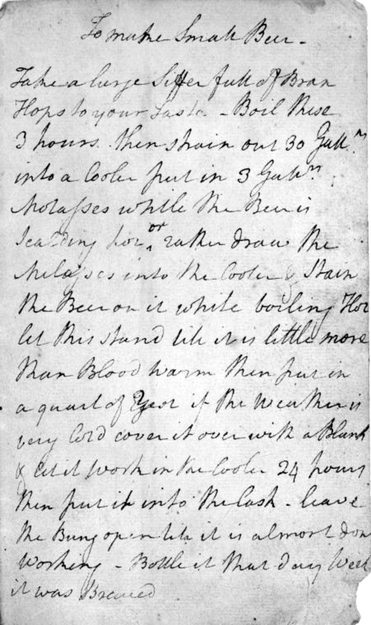 Image: George Washington's handwritten recipe for beer