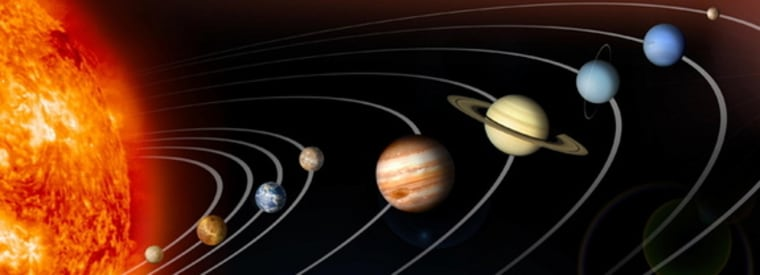 The planets of the solar system as depicted by a NASA computer illustration. Orbits and sizes are not shown to scale.