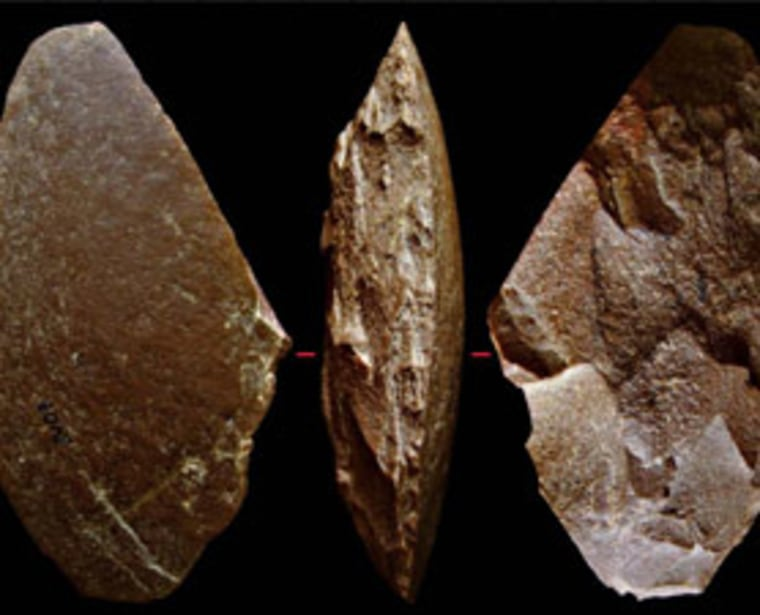 Photographs of a large side-scraper from Byzovaya. Tools like this one suggest the site was occupied by Neanderthals some 33,000 years ago.
