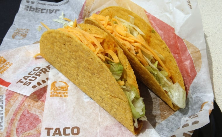 Image: Two crunchy tacos are pictured at a Taco Bell restaurant in Glendale