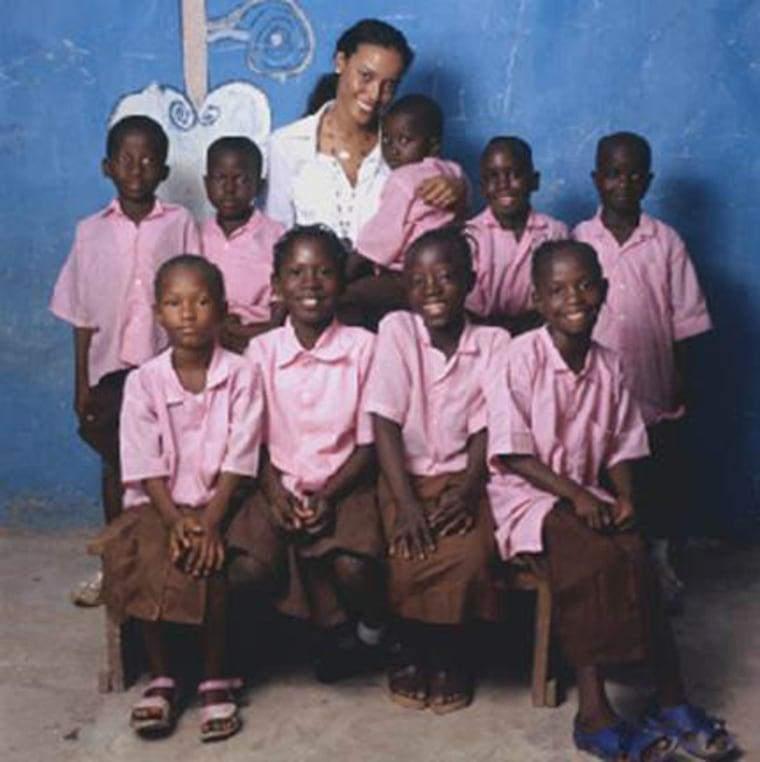 Selita Ebanks schoolgirls at the Muddy Lotus School in Kono, Sierra Leone, on May 23, 2008.