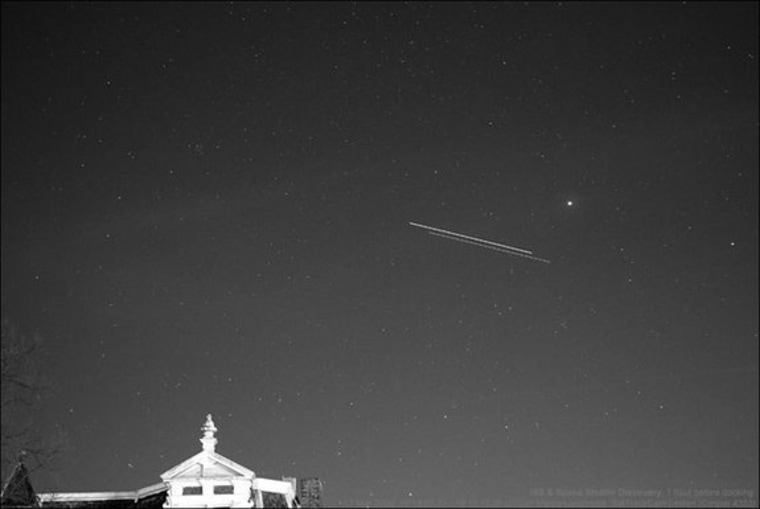 NASA's space shuttle Discovery and the International Space Station are seen in this time-lapse image as they fly over Leiden, The Netherlands, just before the two spacecraft docked on March 17, 2009 during the STS-119 mission. The shuttle is the object slightly fainter and lower in the sky. Movement is from right to left.