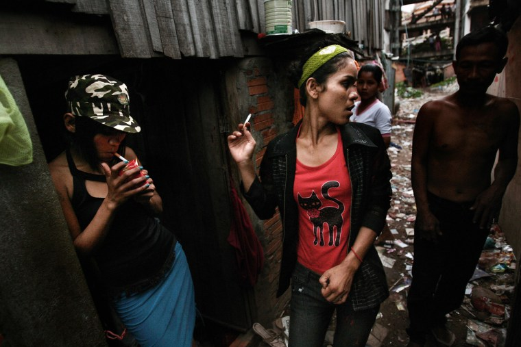 A woman prostitute, drug addict and HIV