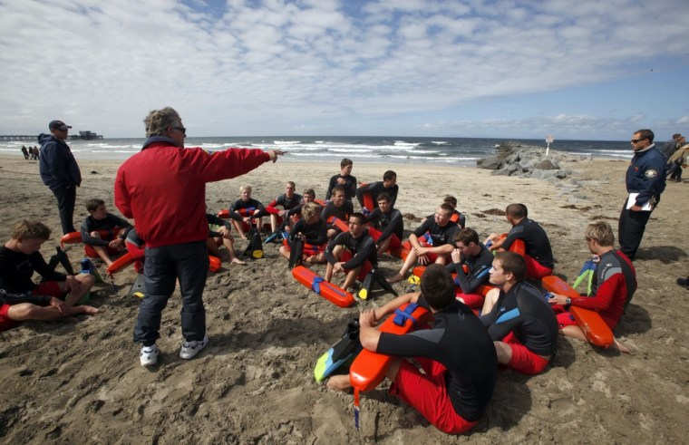 Image: Training session for lifeguards at Newport Beach, Calif.