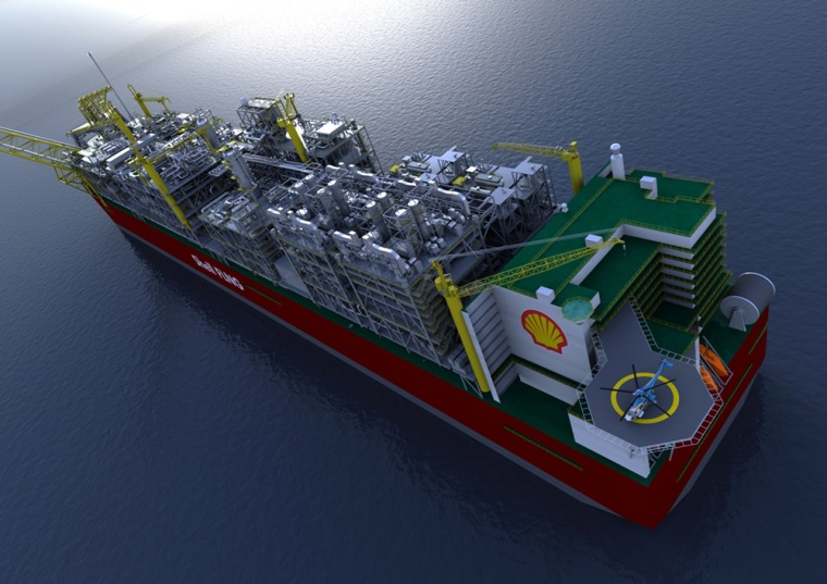 An artist's impression of the Prelude Floating Liquefied Natural Gas (FLNG) facility.