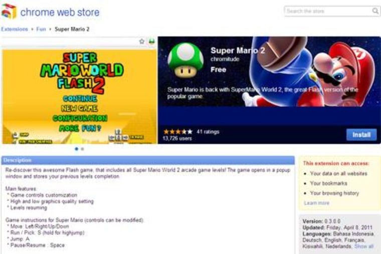 Is it worth downloading this Super Mario app if you have to give the developer access to your browsing history? Screen shot of Chrome Web store by SecurityNewsDaily