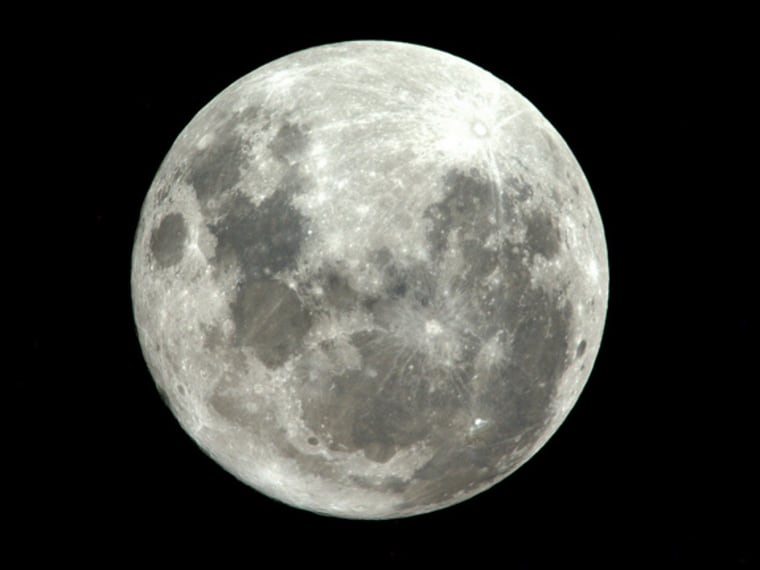 """Astronaut Paolo Nespoli took this image of the moon aboard the International Space Station on March 20 and wrote, """"#Supermoon was spectacular from here!"""""""