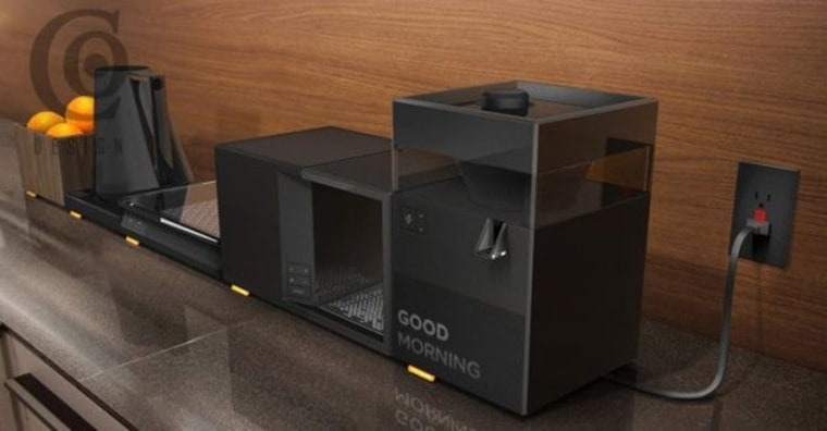 Image: Minimalist kitchen gadgets like these can be plugged into each other, and have spare room for storage.