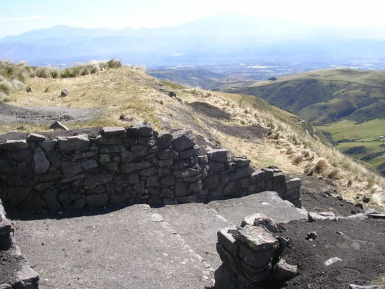 The west gate of the Inca fortress of Quitoloma. Archaeologists are working on excavating and conserving it.