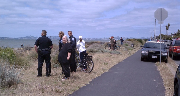 Police, fire crews and passers-by in Alameda, Calif., stand along the beach on Monday while a man walked into the water and later drowned. Photo provided by .