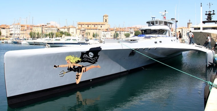 """The """"Brigitte Bardot"""" is seen at anchor on the coast of France."""