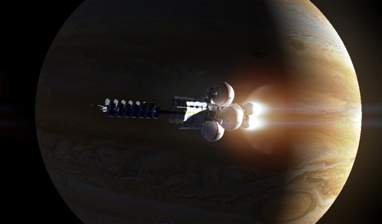 An artist's impression of the Icarus starship accelerating past Jupiter, gaining a valuable boost in speed with the help of the gas giant's gravity, slingshotting it toward its interstellar destination.